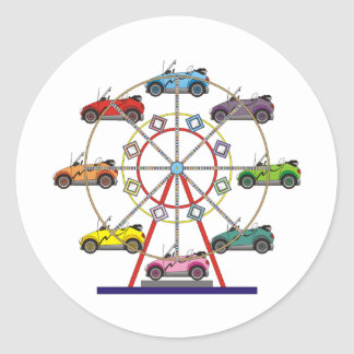 Eco Car Ferris Wheel Round Sticker