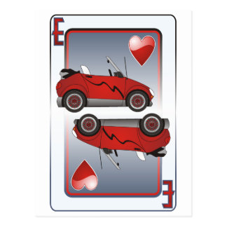 Eco Car Playing Card Hearts Postcard