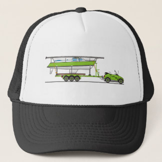 Eco Car Sail Boat Green Trucker Hat