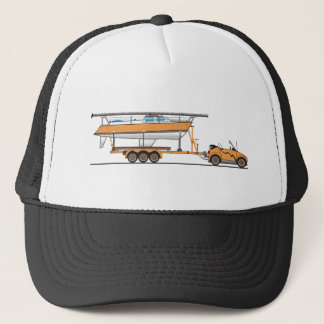 Eco Car Sail Boat Orange Trucker Hat