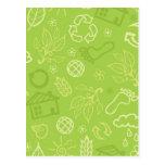 Eco environmental green pattern post cards