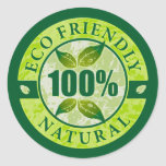 Eco Friendly 100% Natural Classic Round Sticker
