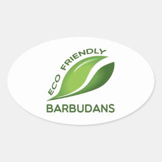 Eco Friendly Barbudans. Oval Sticker