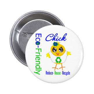 Eco-Friendly Chick Reduce Reuse Recycle 6 Cm Round Badge