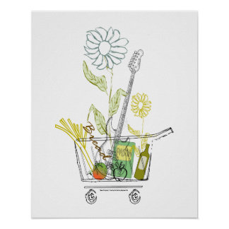 Eco Friendly Funny Guitar Cool Decorative Prints Poster