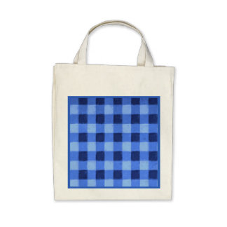 Eco-Friendly Retro Gingham Blue Reusable Canvas Bag