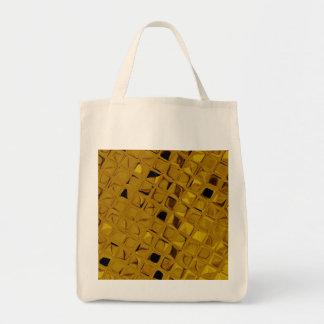 Eco-Friendly Shiny Metallic Yellow Gold Reusable Grocery Tote Bag