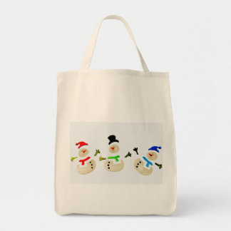 Eco-Friendly Snowman Christmas Parade Reusable Grocery Tote Bag
