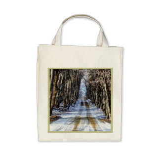 Eco-Friendly Snowy Winter Road Reusable Canvas Bags