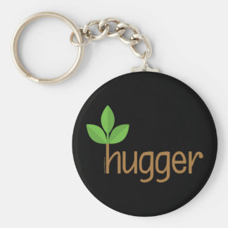 Eco Friendly Tree Hugger Basic Round Button Key Ring