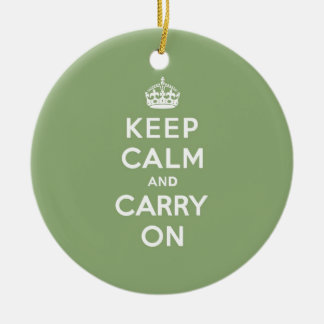 Eco Green Keep Calm and Carry On Round Ceramic Decoration