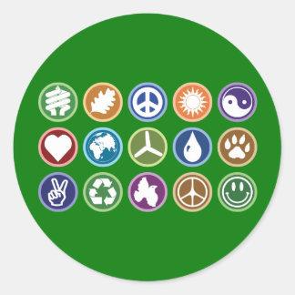 Eco Symbols Round Sticker
