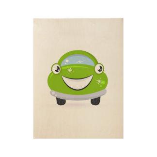 Eco washing Car / Illustration on wood. Poster art Wood Poster