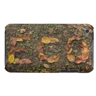 'ECO' written with fallen leaves that turn red Barely There iPod Cover