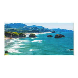 Ecola State Park, Oregon. Panorama of Crescent Canvas Print