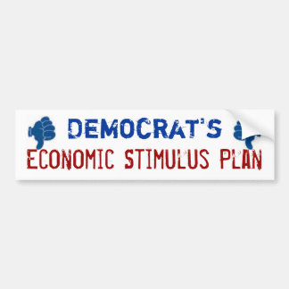 Economic Stimulus Plan Thumbs Down Bumper Sticker