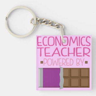 Economics Teacher chocolate Gift for Her Double-Sided Square Acrylic Key Ring