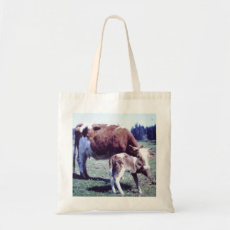 Economy grocery tote with cow and calf photo. budget tote bag