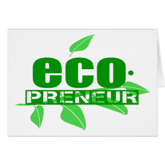 Ecopreneur With Leaves, Branch And Dot Hyphen Greeting Card