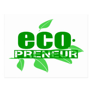 Ecopreneur With Leaves, Branch And Dot Hyphen Postcard