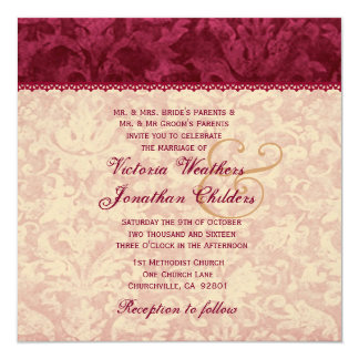 Ecru and Ruby Red Damask Wedding Template V15 Announcement