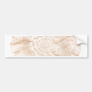 Ecru Beige Tan Old-fashioned Vintage Doily Car Bumper Sticker