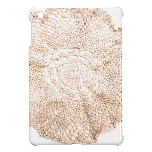 Ecru Beige Tan Old-fashioned Vintage Doily iPad Mini Covers