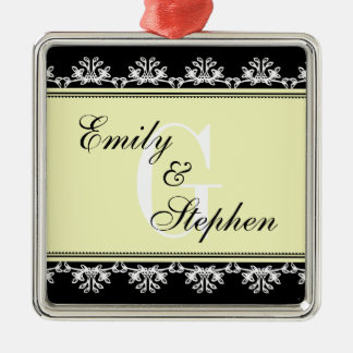 Ecru black filigree border wedding couple first christmas ornament