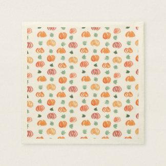 Ecru cocktail paper napkins with pumpkins