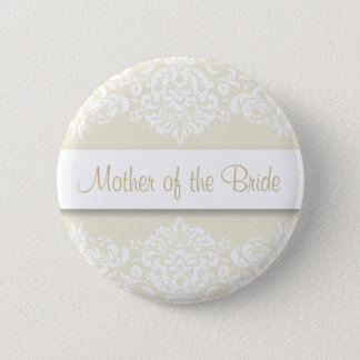 Ecru Damask Mother of the Bride Button