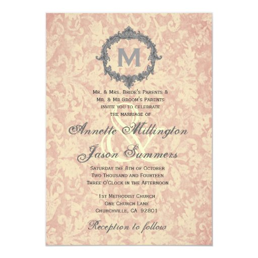 Ecru Damask Silver Vintage Frame Monogram Wedding 13 Cm X 18 Cm Invitation Card