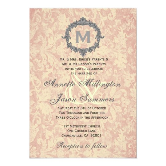 Ecru Damask Silver Vintage Frame Monogram Wedding Card
