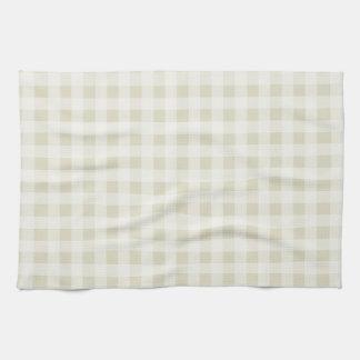 Ecru Gingham; Checkered Hand Towels