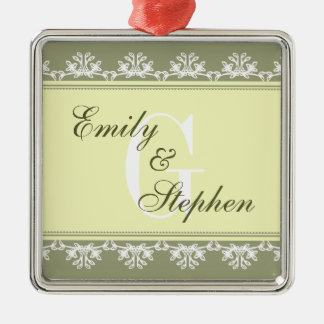 Ecru green filigree border wedding couple first christmas ornament