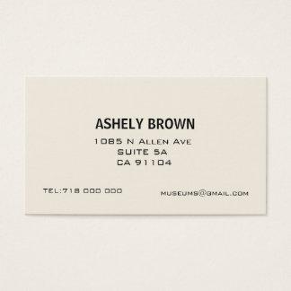 Ecru Minimalist Calling Business Card