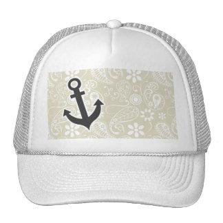 Ecru Paisley; Floral; Anchor Trucker Hat