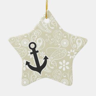 Ecru Paisley; Floral; Anchor Ornaments