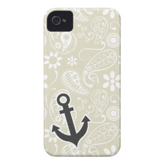 Ecru Paisley; Floral; Anchor iPhone 4 Case-Mate Case