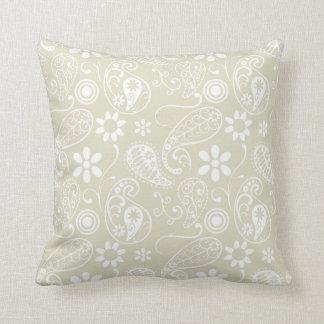 Ecru Paisley; Floral Cushion