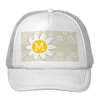 Ecru Paisley; Floral; Daisy Trucker Hat