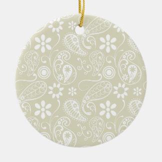 Ecru Paisley; Floral Round Ceramic Decoration