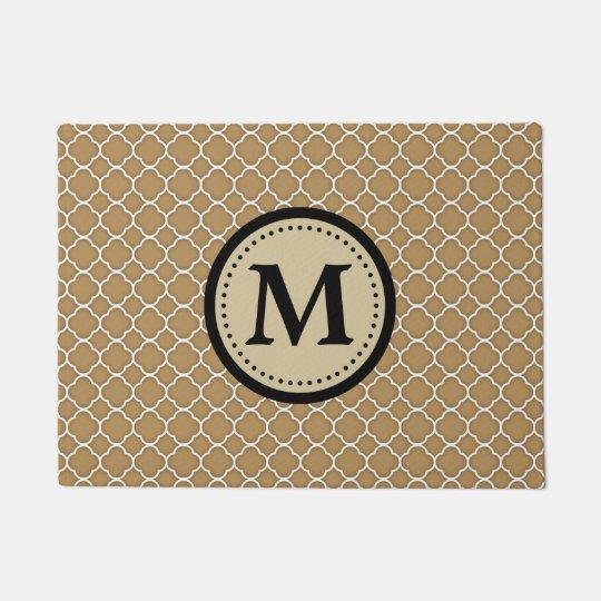 Ecru Tan Quatrefoil Pattern Monogram Doormat