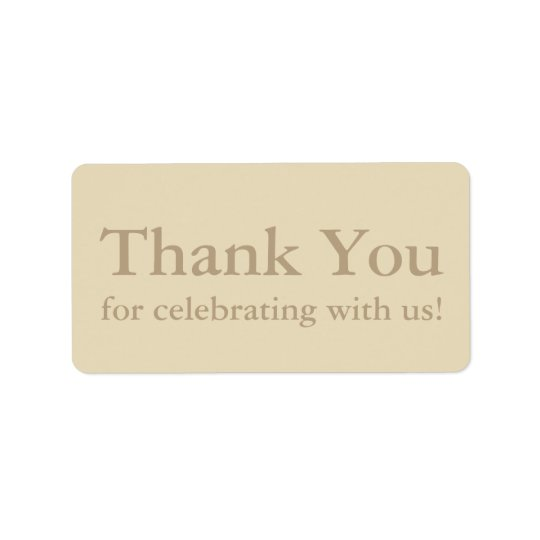Ecru Thank You Stickers or Wedding Gift Labels