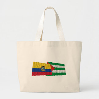 Ecuador and Manabí waving flags Large Tote Bag