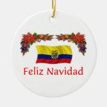 Ecuador Christmas Round Ceramic Decoration