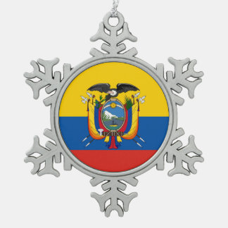 Ecuador country flag symbol long snowflake pewter christmas ornament
