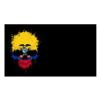 Ecuador Dripping Splatter Skull Business Card Template
