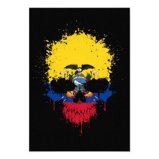 Ecuador Dripping Splatter Skull Custom Invitation