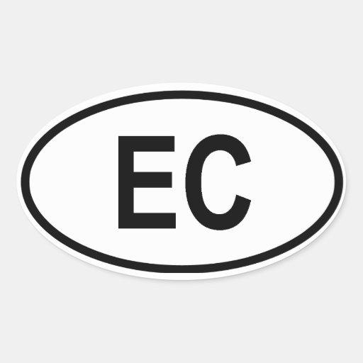 """Ecuador """"EC"""" Oval Sticker"""