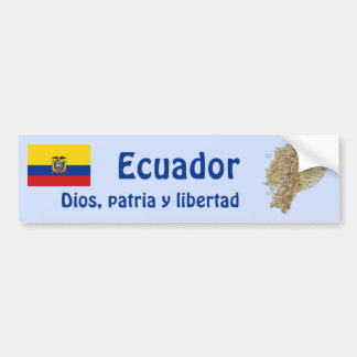 Ecuador Flag and Map Bumper Sticker